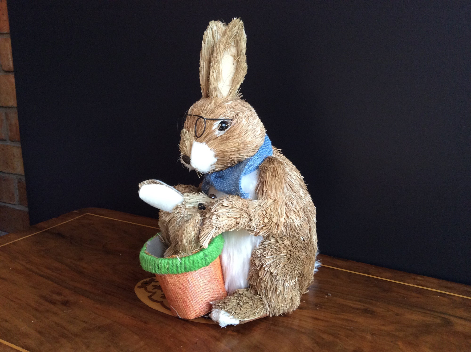Easter Rabbit with Baby -Straw finish