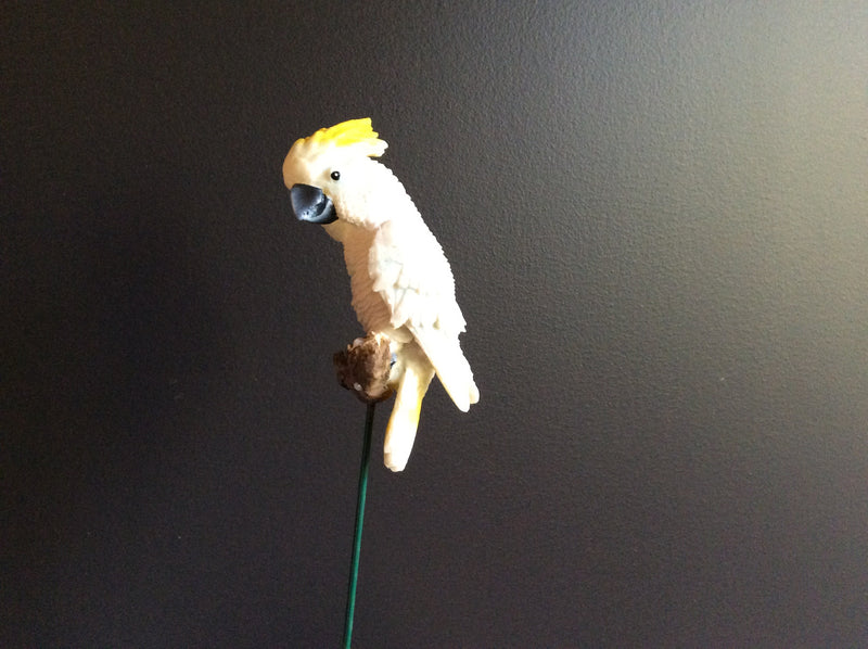 Aussie Bird on stick in Resin - White cockatoo