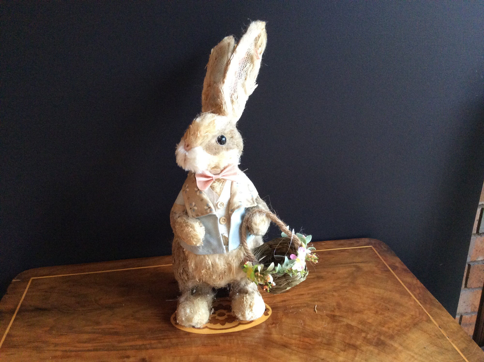 Easter -Pa Rabbit dressed in Pale Blue and Taupe