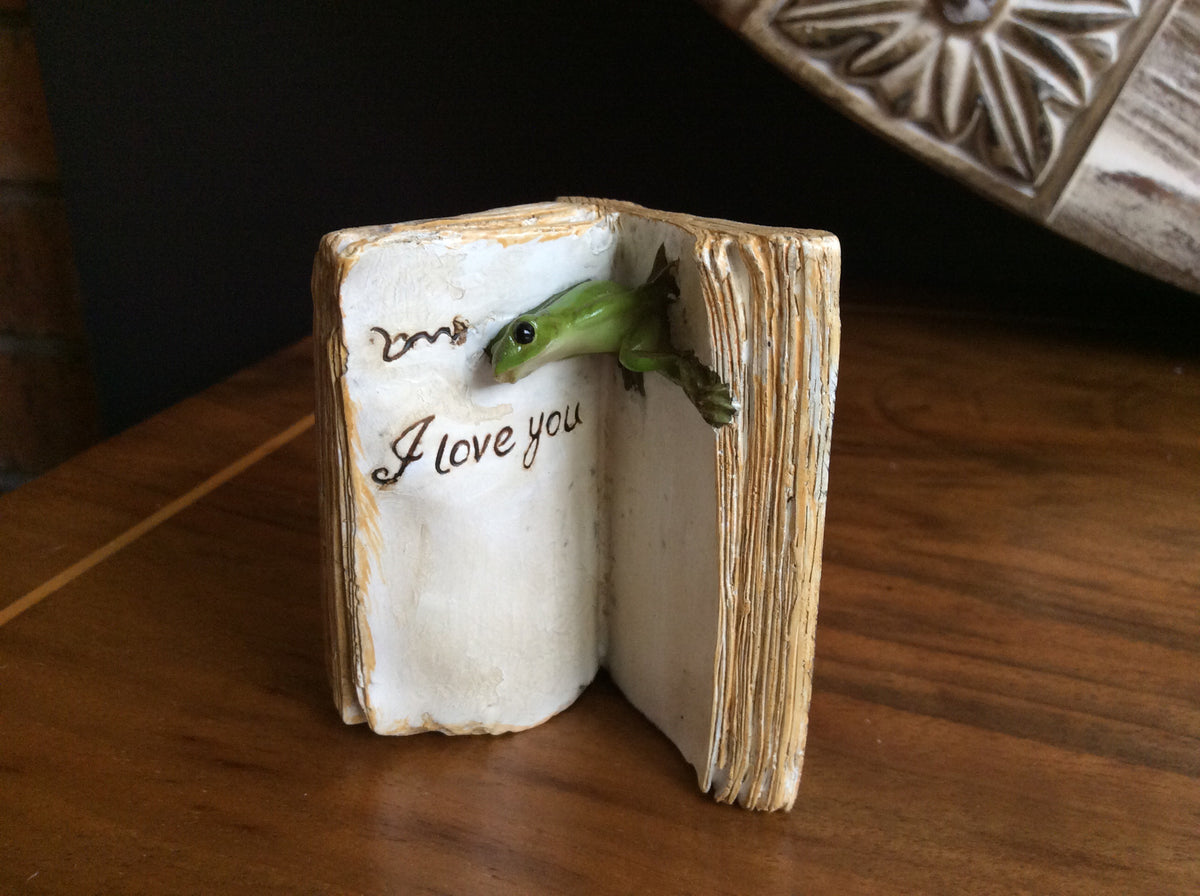 "Resin - ""I Love You"" Frog in book"