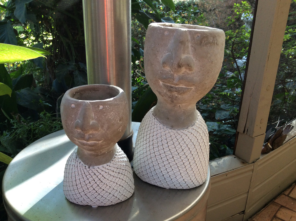 Cement Set of Two Head Planters with White Mesh top
