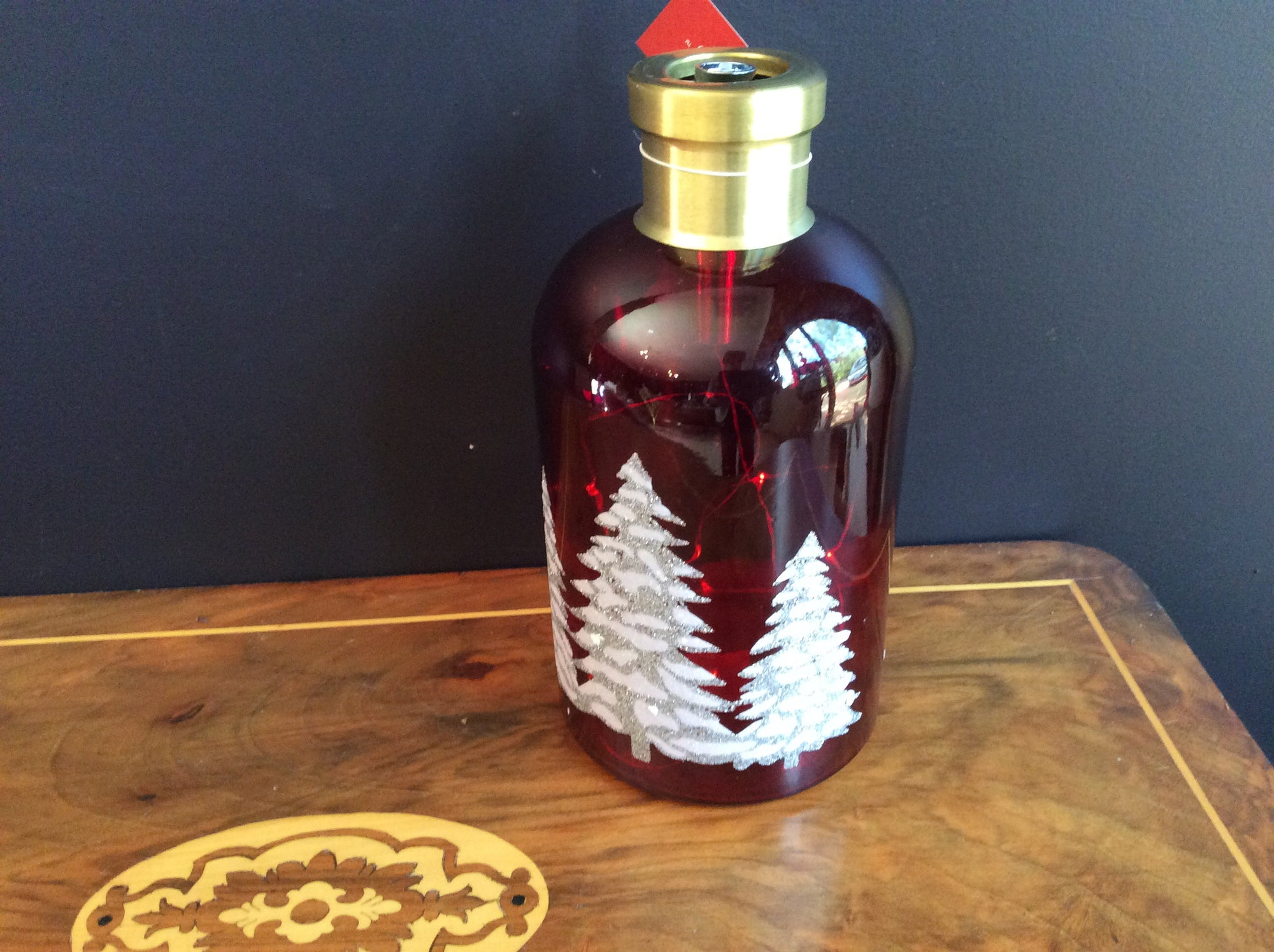 Red Glass Bottle with etching and lights