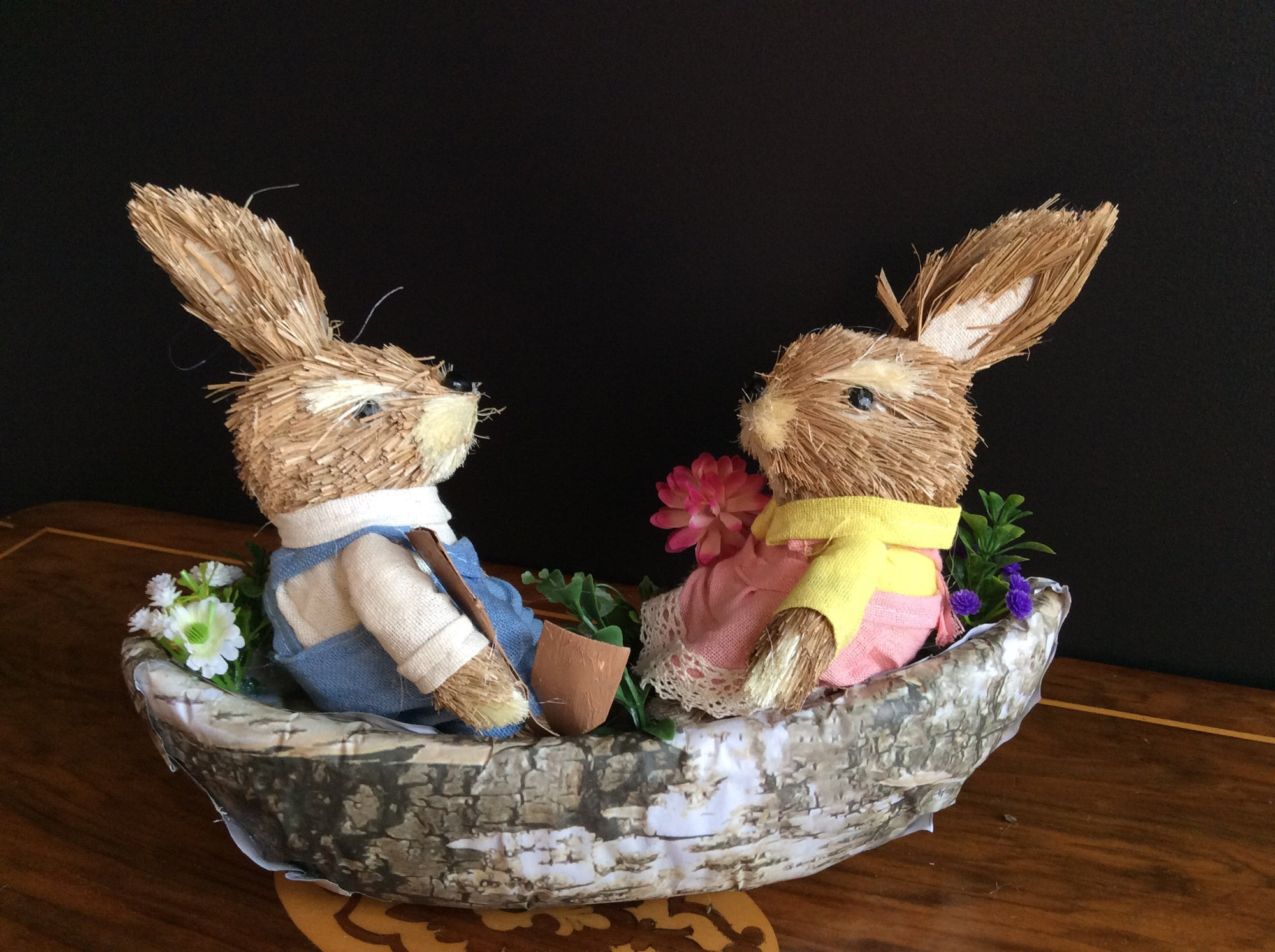 Easter Decoration -Sailing Couple Rabbits -  Straw and fabric