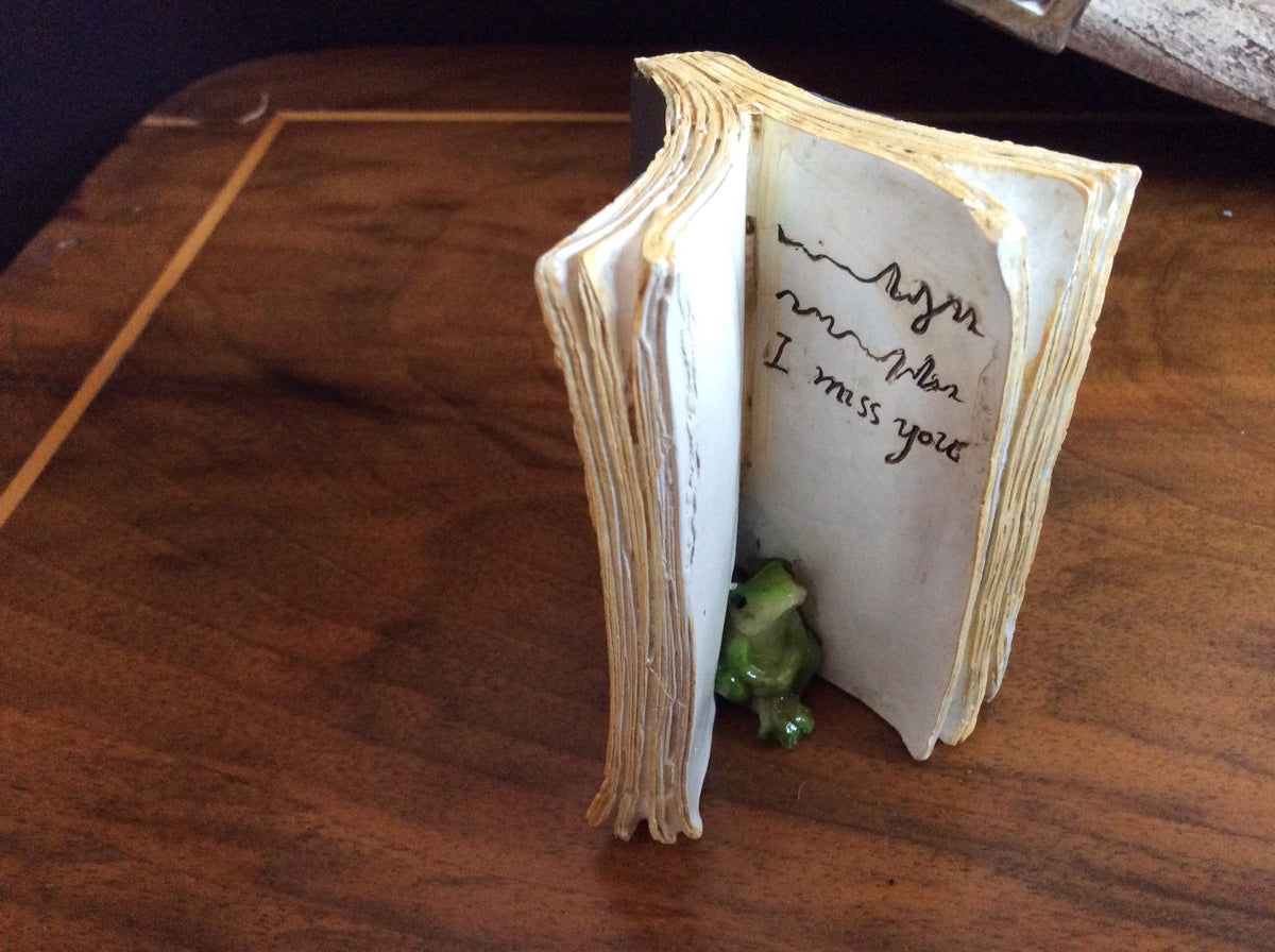 "Resin -Ceramic ""I miss You"" Frog in book"