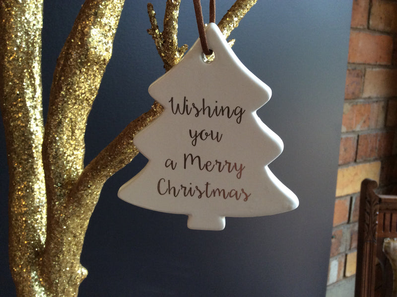 Hanging Ceramic Christmas Tree with saying