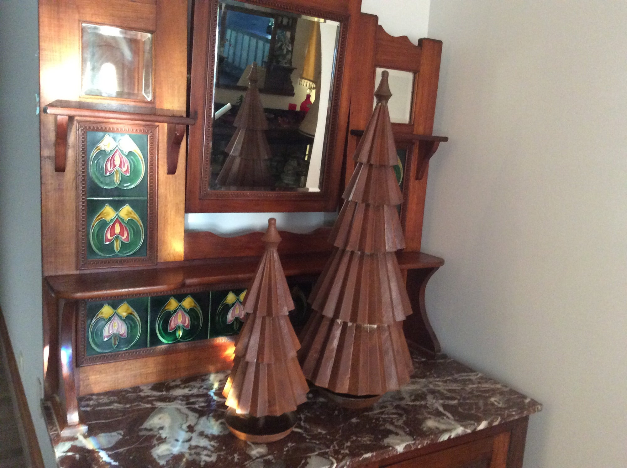 Metal rust large Christmas Tree set of 2
