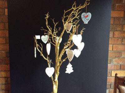 Hanging Ceramic Off White Heart with saying