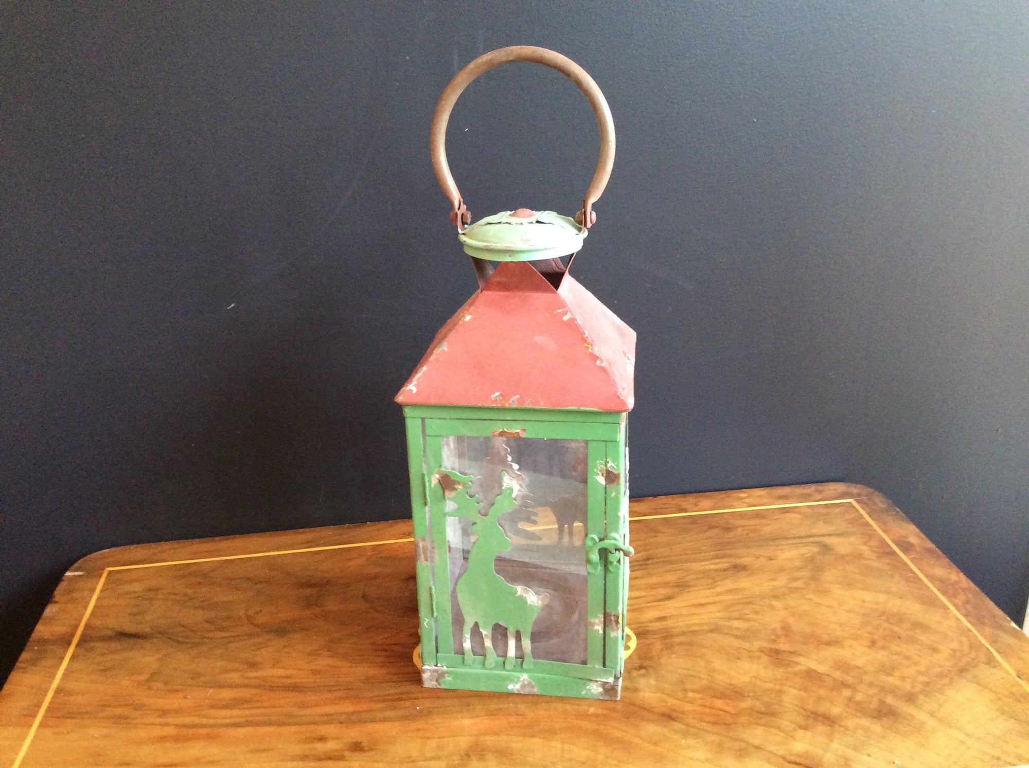 Rustic Tin/Glass Metal Garden Lantern