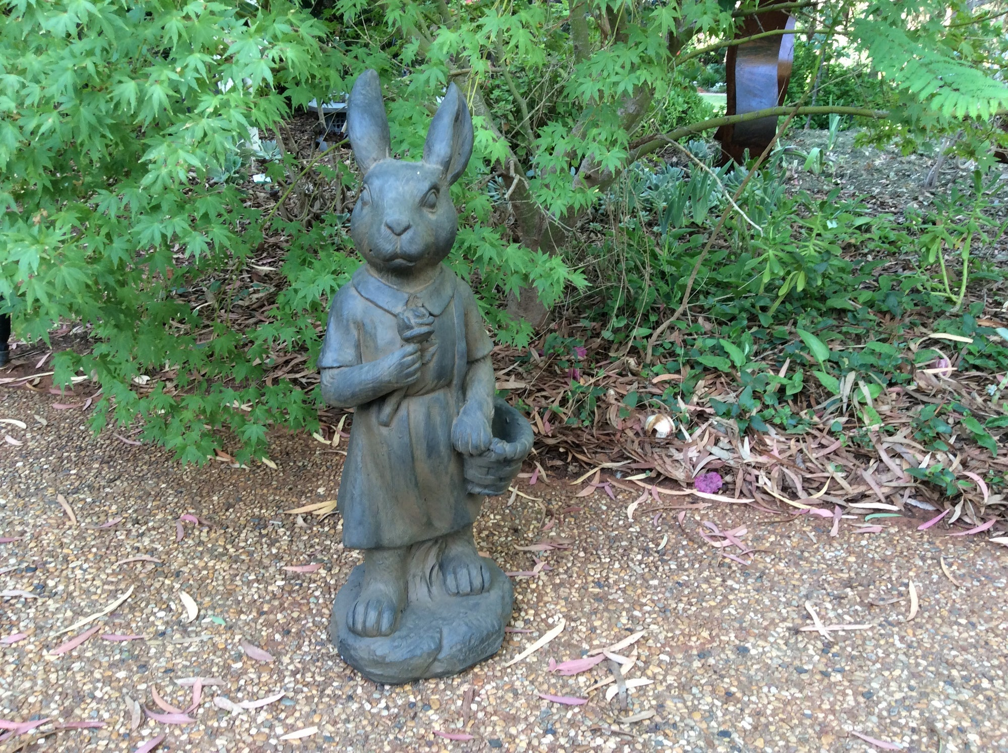 Mrs Rabbit - Rusted Iron Garden Statue