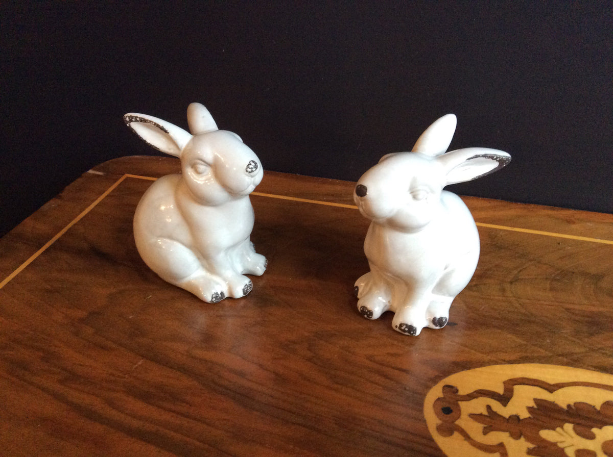 Curios White Crackle Glaze Rabbits -Set of 2