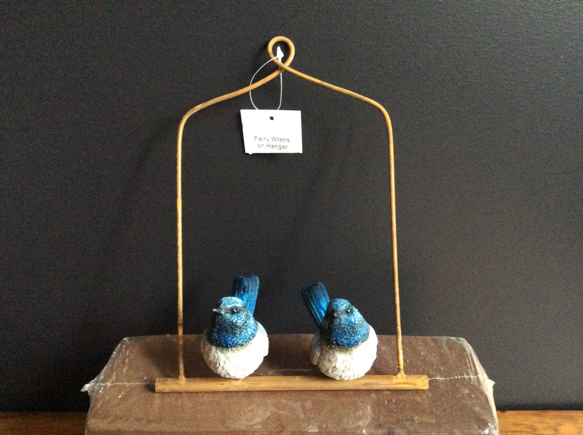 Resin Fairy Wrens on Metal hanger