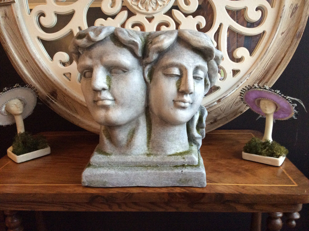 Classic Grecian Two -Faces Resin Planter