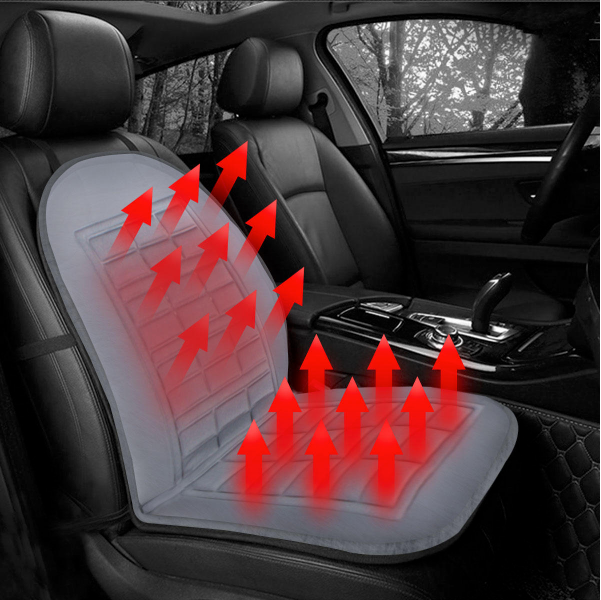 Universal 12V Car Front Seat Heated Cushion Winter Warmer Cover Protector Electric Heating Pad - Black
