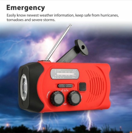 2000MAH Emergency Led Radio Solar Hand Crank AM/FM/NOAA Flashlight Phone Charger