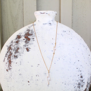 Double Lightning Necklace - white