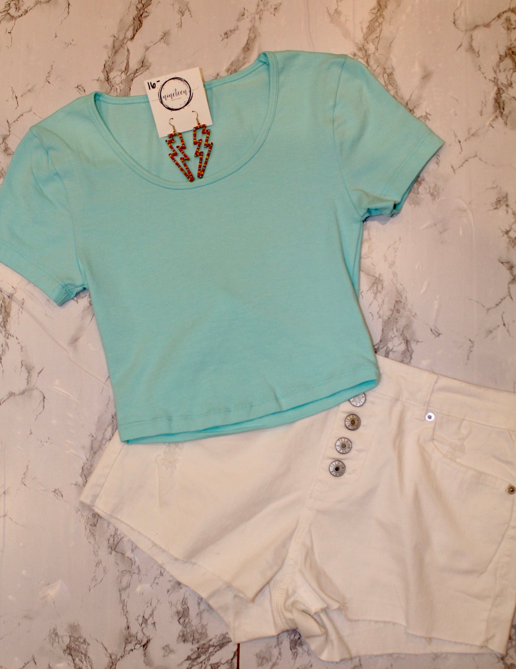 Blue Mint Cropped Tee