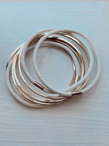 All business Gold & White Leather Bangle Set