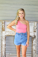 Load image into Gallery viewer, One Shoulder Crop Top- Coral