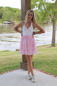 Ruffle Me Up Pink Skirt
