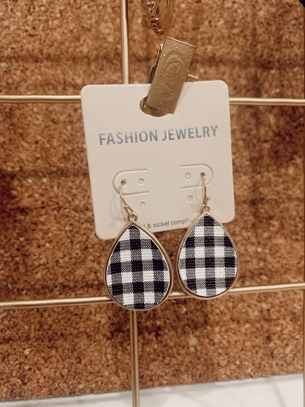Gingham Oval Earrings