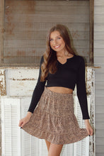Load image into Gallery viewer, Mocha & Ivory Leopard Tiered Skirt