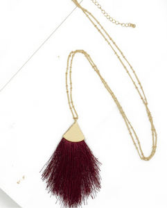 Long Tassel Necklace- Crimson