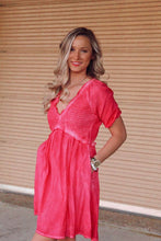 Load image into Gallery viewer, Hot Pink Deep V Ruffle Mini Dress