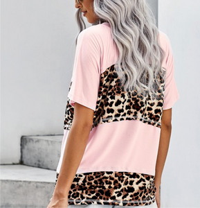 Baby pink & Cheetah Color Block Top