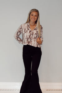 Snakeskin Button Up Blouse