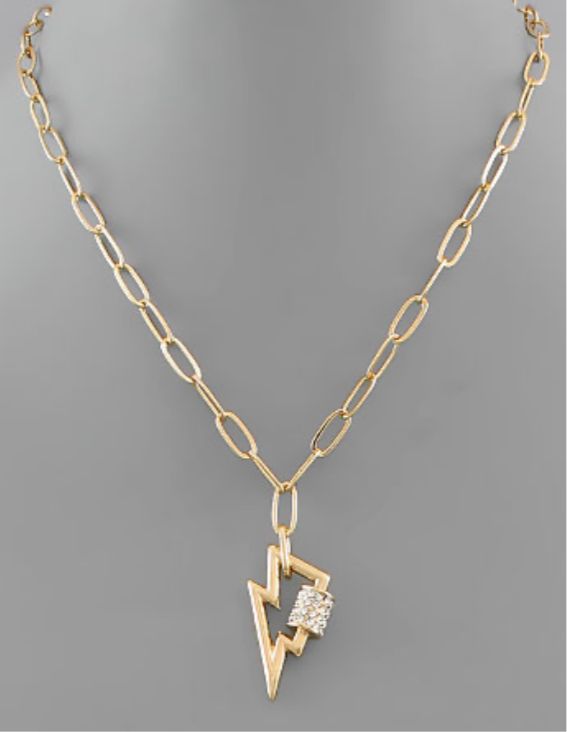 Lightning Bolt and Diamond Lock Necklace- Gold