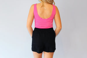 Striped Bodysuit- Hot Pink