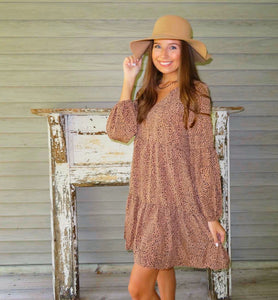 Brown Leopard Ruffle Dress