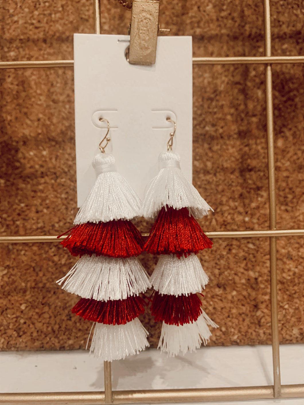 Red and White Game Day Earrings
