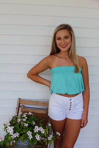 Ribbed Crop Top- Bright Turquoise