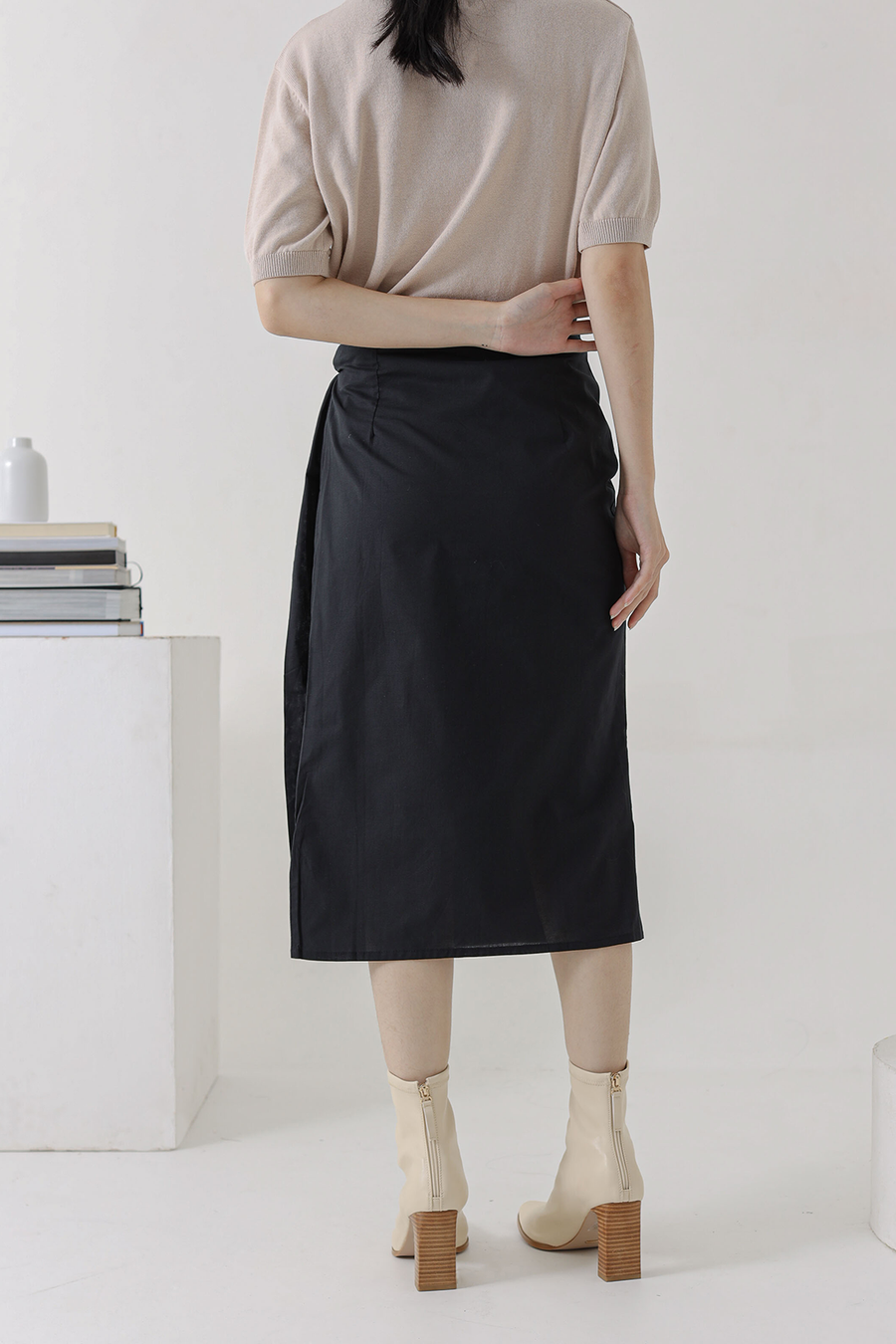 Black Preston Wrap Skirt