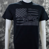 American Flag Off-Road on a Black Short Sleeve Shirt