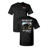 Extreme Muddin Buckle Up Butter Cup on a Black T Shirt