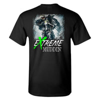 Extreme Muddin' Motocross Dirt Bike on a Black T Shirt