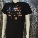 Flag & Fireworks on a Black T Shirt