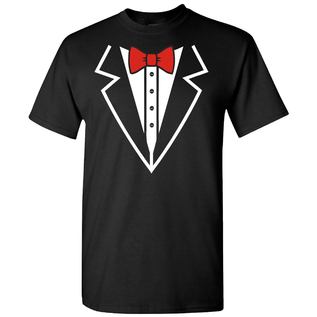 Tuxedo With Red Bowtie on a Black Short Sleeve T Shirt