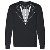 Tuxedo on a Long Sleeve Black T Shirt