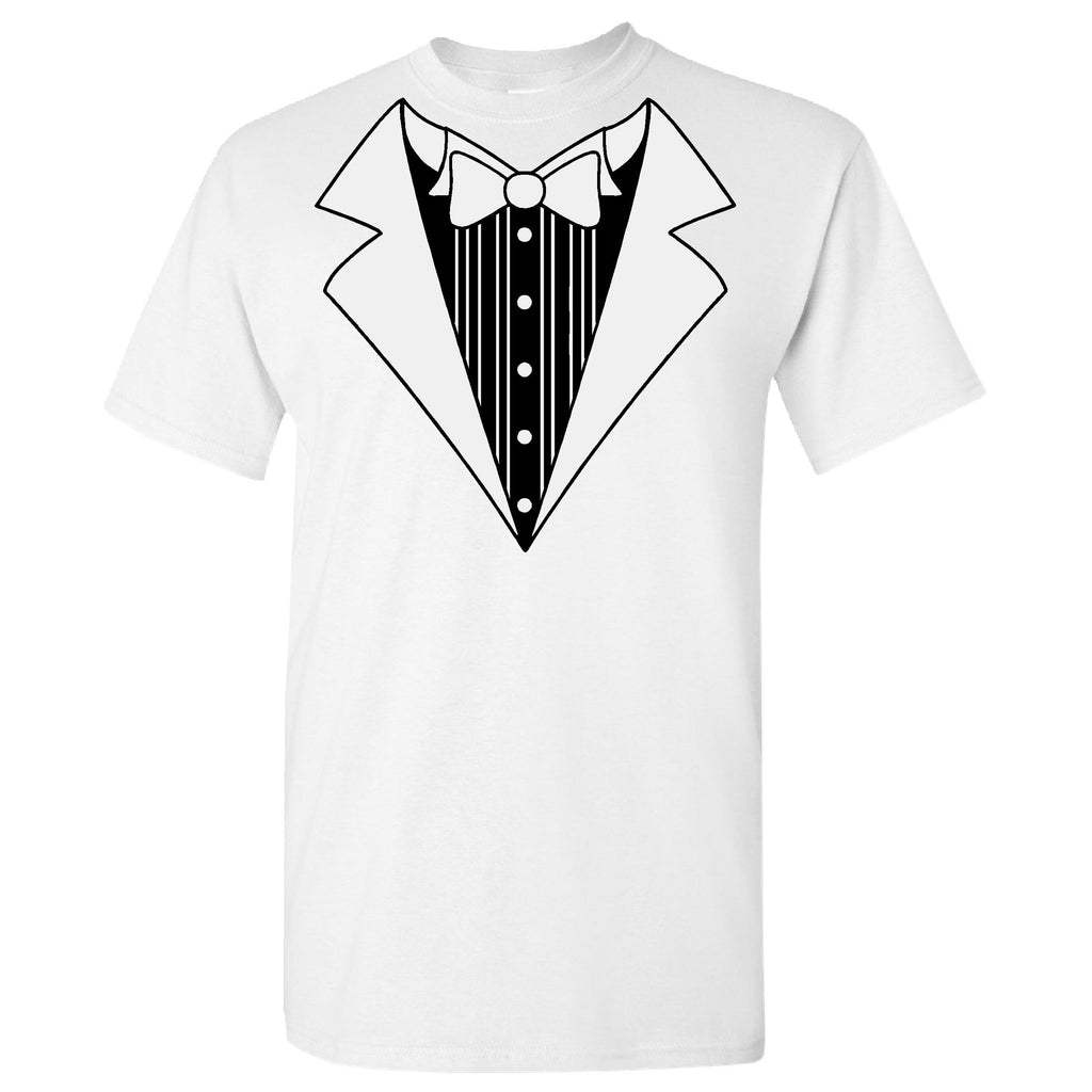 Tuxedo on a White Short Sleeve T Shirt