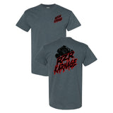 RZR Karnage Logo with RZR on top on a Dark Heather T Shirt
