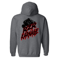 RZR Karnage Logo with RZR on top on a Dark Heather Hoodie