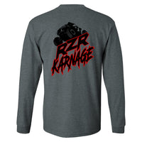 RZR Karnage Logo with RZR on top on a Dark Heather Long Sleeve T Shirt