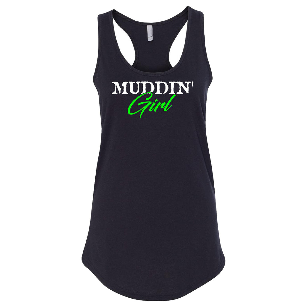 Muddin Girl Logo With Green Extreme Muddin on a Black Womens Tank Top