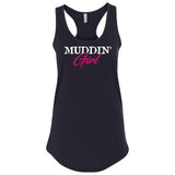 Muddin Girl Logo With Pink Extreme Muddin on a Black Womens Tank Top