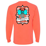 Southern Charm Life Mason Bow Tie on a Long Sleeve Heather Coral T Shirt