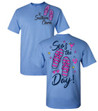 Sea's The Day Southern Charm Collection on a Carolina Blue T Shirt
