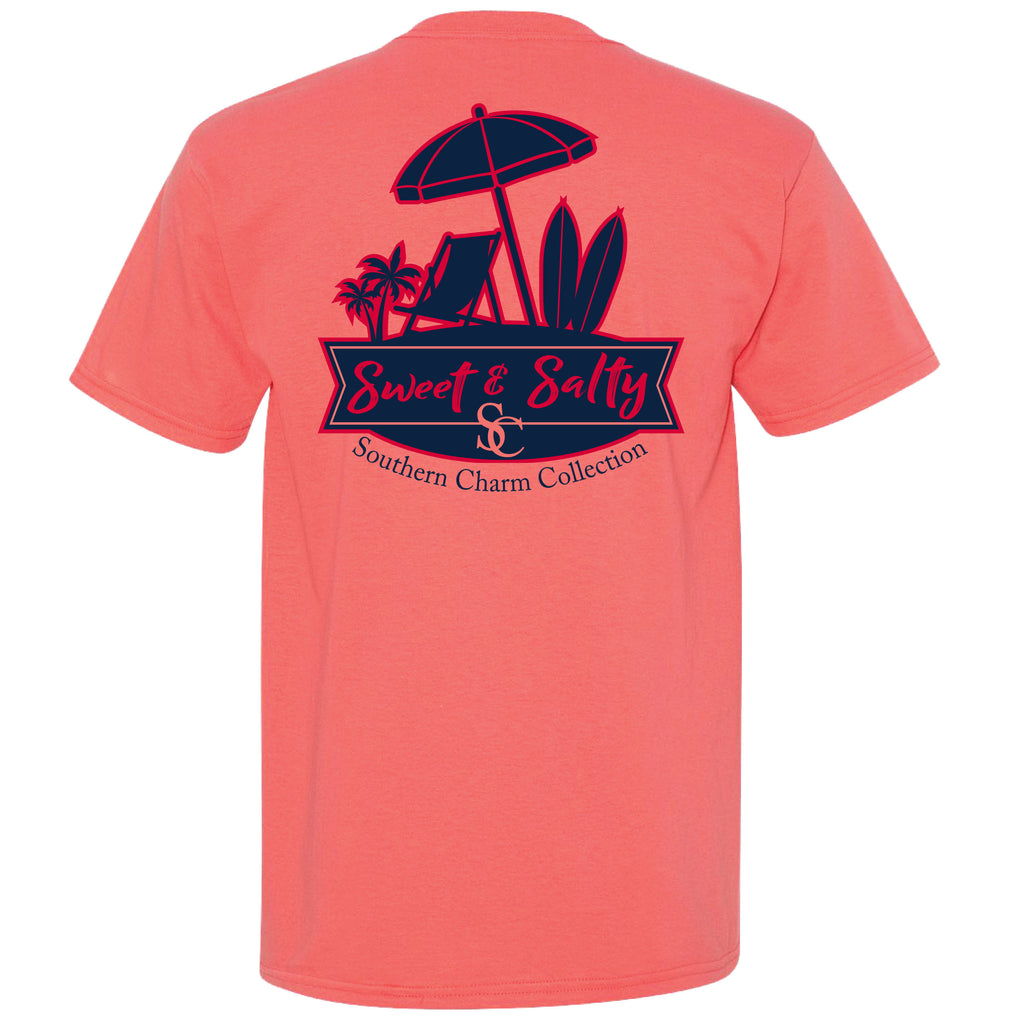 Sweet & Salty Southern Charm Collection on a Coral T Shirt